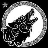 Lobo en de estilo celta, lobo del grito en el ornamento céltico libre illustration