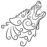 Lobo en de estilo celta, lobo del grito en el ornamento céltico ilustración del vector