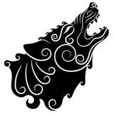 Lobo en de estilo celta, lobo del grito en el ornamento céltico stock de ilustración