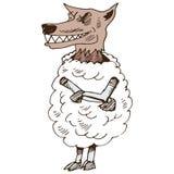 Lobo en ropa de las ovejas Imagen de archivo
