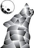 Lobo gris en el centro de la Luna Llena ilustración del vector