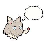 lobo infeliz de la historieta con la burbuja del pensamiento Imagen de archivo