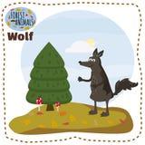 Lobo lindo de la historieta en el ejemplo del bosque del paisaje del fondo, vector, aislado libre illustration