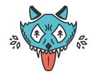 Lobo louco Animal dos desenhos animados isolado no branco Imagens de Stock Royalty Free