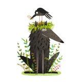 Lobo negro y cuervo que se sientan en la amistad principal Foto de archivo libre de regalías