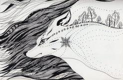 Lobo que corre en la noche stock de ilustración