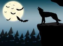 Lobo que grita en la Luna Llena Stock de ilustración
