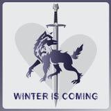 Lobo, uma espada e coração O inverno está vindo fotografia de stock royalty free