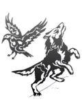 Lobo y cuervo - gradiente Imagenes de archivo
