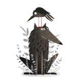 Lobo y cuervo negros Imagenes de archivo