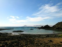 Lobos. Black beach of the vulcanic island Lobos in the Atlantic Ocean, one of the canary Islands Royalty Free Stock Photos