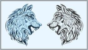 Lobos decorativos gráficos en colores negros y azules ilustración del vector