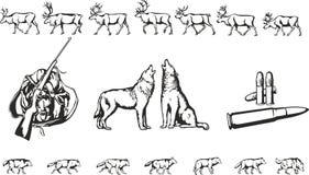 Lobos e cervos ilustração stock
