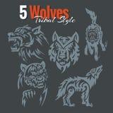 Lobos en estilo tribal Sistema del vector Fotografía de archivo