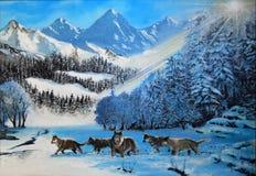 Lobos en la nieve Imágenes de archivo libres de regalías