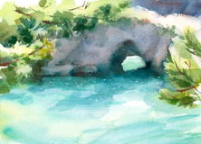 Lobos för punkt för kust för hav för Seascape för vattenfärgKalifornien kust scenisk hand målad illustration royaltyfri illustrationer