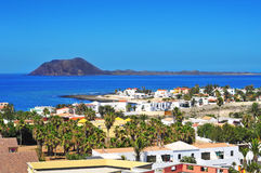 Lobos Island and Corralejo in Fuerteventura, Spain Stock Images