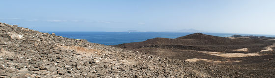 Lobos Island, Fuerteventura, Canary Islands, Spain, footpath, desert, landscape, mountain, volcano, Ocean. The view seen from the top of Caldera mountain of Royalty Free Stock Images