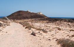 Lobos Island, Fuerteventura, Canary Islands, Spain, Punta Marino, lighthouse, footpath, nature, desert, landscape, climate change. Lobos landscape and the stock photography