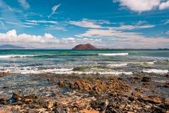 Lobos island. Sunny day over Lobos island, north Fuerteventura Stock Images