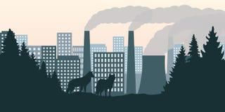 Lobos no olhar da floresta na cidade e na poluição pela indústria com poluição atmosférica ilustração stock