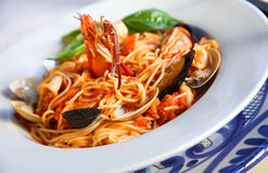 Lobster. Pasta with lobster and seafood Royalty Free Stock Image