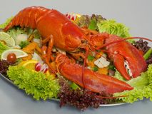 Lobster 2. Lobster and dressing and vegetable garnish royalty free stock image