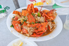 Lobster. Onion ginger Fried lobster in Sydney seafood market Royalty Free Stock Images