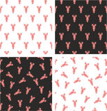 Lobster Aligned & Random Seamless Pattern Color Set. This image is a illustration and can be scaled to any size without loss of resolution Royalty Free Stock Image