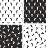 Lobster Aligned & Random Seamless Pattern Set. This image is a illustration and can be scaled to any size without loss of resolution Stock Image