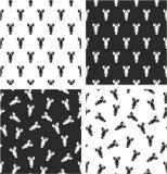 Lobster Aligned & Random Seamless Pattern Set Stock Image