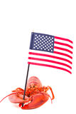 Lobster with american flag Stock Photos