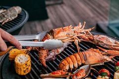 Free Lobster And Mix Seafood Barbecue Cokking On Grill Royalty Free Stock Photo - 157710775