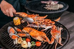 Free Lobster And Mix Seafood Barbecue Cokking On Grill Stock Images - 164872344