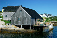 Lobster Barn. This is a lobster barn sheltering equipment to catch lobsters in the fishing village of Peggy's Cove, Nova Scotia, Canada Royalty Free Stock Images
