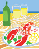 Lobster on the Beach. Lobster and White Wine on the Beach Stock Photos