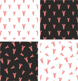 Lobster Big & Small Aligned & Random Seamless Pattern Color Set. This image is a illustration and can be scaled to any size without loss of resolution Stock Photos