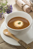 Lobster bisque broth soup Stock Photography