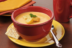Lobster bisque with croutons Stock Photography