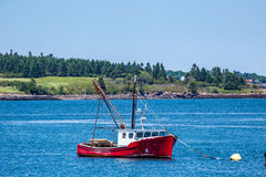 Lobster Boat at Anchor Stock Image