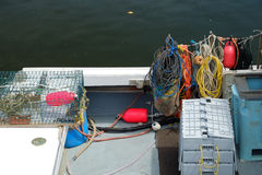 Lobster boat deck Stock Photo