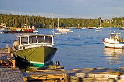 Lobster boat at dock Stock Photography