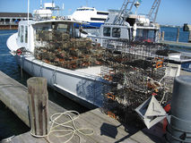 A lobster boat ready to set traps Stock Photo