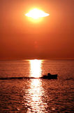 Lobster boat in the sunset. Royalty Free Stock Photos
