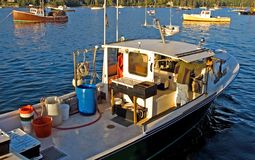 Lobster boat at work Stock Images