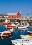 Lobster boats. Scenic view of lobster boats moored at a harbor in Rockport, Massachusetts Stock Images