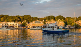 Lobster boats in the calm and beautiful Boothbay Harbor, Maine, on July 4th, 2017 Stock Photography