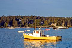 Lobster boats at dawn. A view of a typical Maine lobster boat floating at anchor in Southwest Harbor, Maine in the early morning light Royalty Free Stock Image