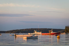 Lobster boats at dawn in Friendship, Maine. Lobster boats in the quiet and still harbor at dawn in Friendship, Maine Stock Photos