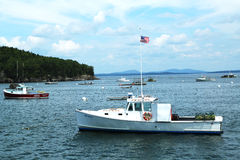 Lobster boats at Frenchman Bay near Bar Harbor, Ma Royalty Free Stock Images